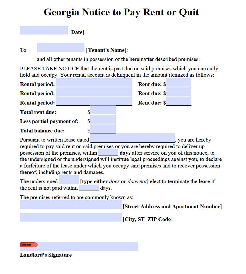 Free Georgia Notice To Pay Or Quit PDF