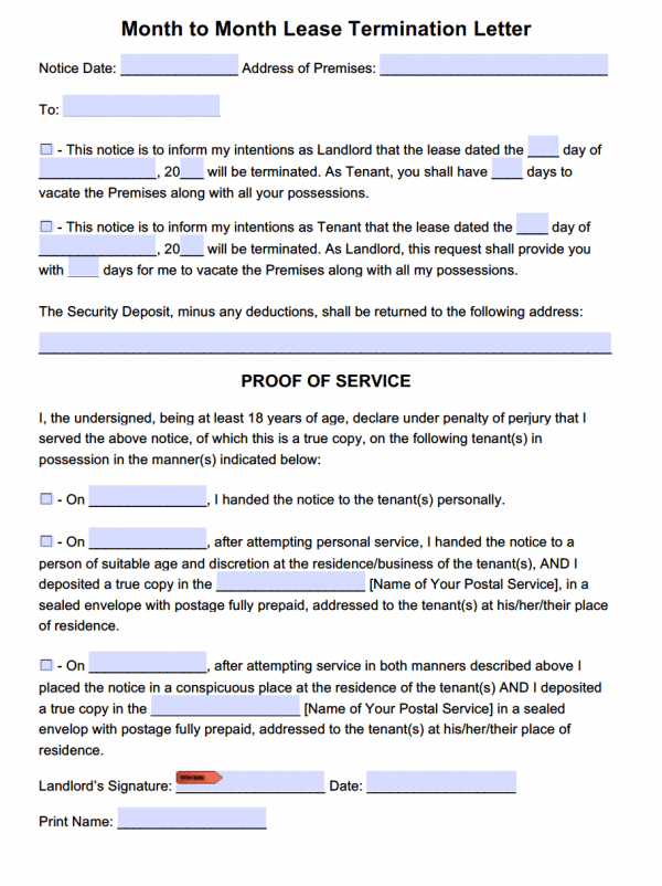 Free Lease Termination Letter Template For Month To Month