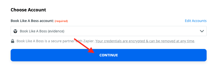 """Select your Book Like A Boss account, connect to it, and click """"Continue""""."""