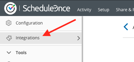 Then log into your ScheduleOnce account and go to Integrations.