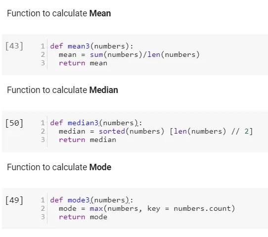 Python functions for calculating means, median, and mode.