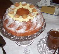 Almond bundt with September label and sauce
