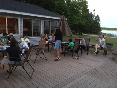 The whole Hee Haw gang on the deck enjoying a evening's repast.