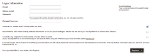 Confusing opt-in and opt-out check boxes (negative options) on Hotel Chocolat's site.