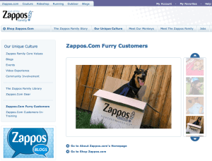 Zappos makes customers feel important by featuring their dog photos