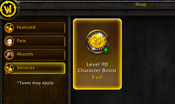 $60 for Level 90 (WoW Insider)