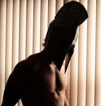 Man wearing Spartan helmet
