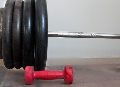 Large barbell, small dumbbell