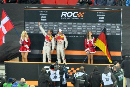Race drivers celebrating