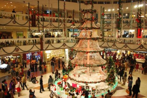 Shopping mall during Christmas