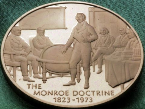 Commemorative plaque of the Monroe Doctrine
