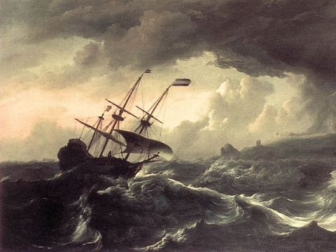 Oil painting of ship in heavy sea.