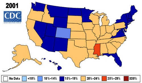 US obesity rates in 2001.