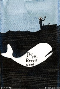 "Cartoon of a white whale beneath a black sea. Upon it is written ""The perfect Brexit deal"". A silhouette of Theresa May standing on a boat holding a harpoon stands above waiting for her obsession beneath."