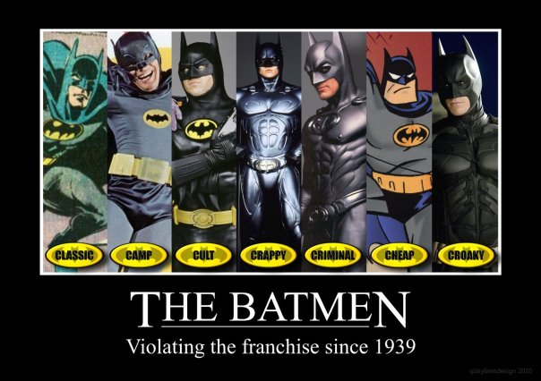 Here's a handy quick reference chart I found.  For the record I totally don't agree with their assessment of the animated Batman.