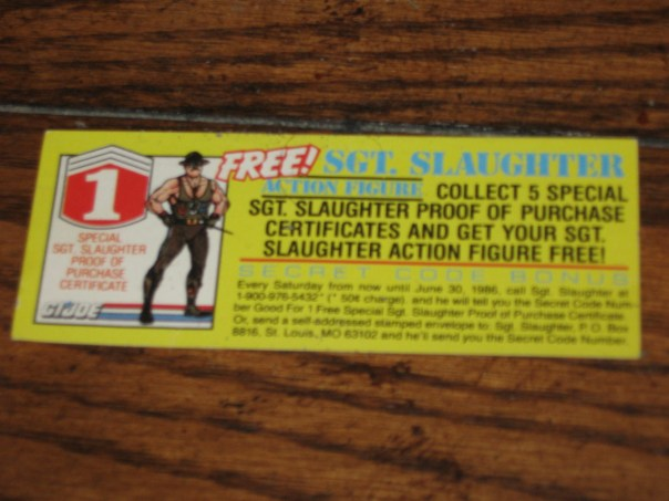 Oh yeah, you can bet your ass C-Mart sent away for this kick-ass Sgt. Slaughter figure!