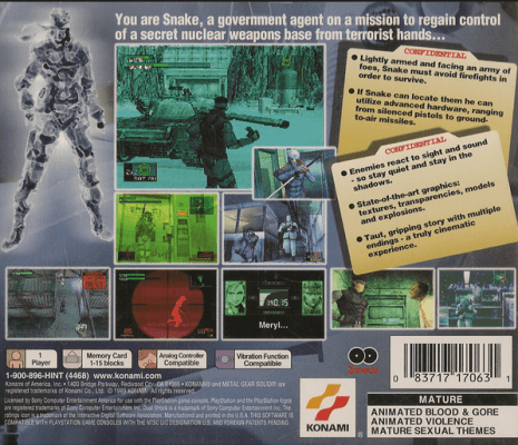 Metal Gear Solid 1999 Back Cover