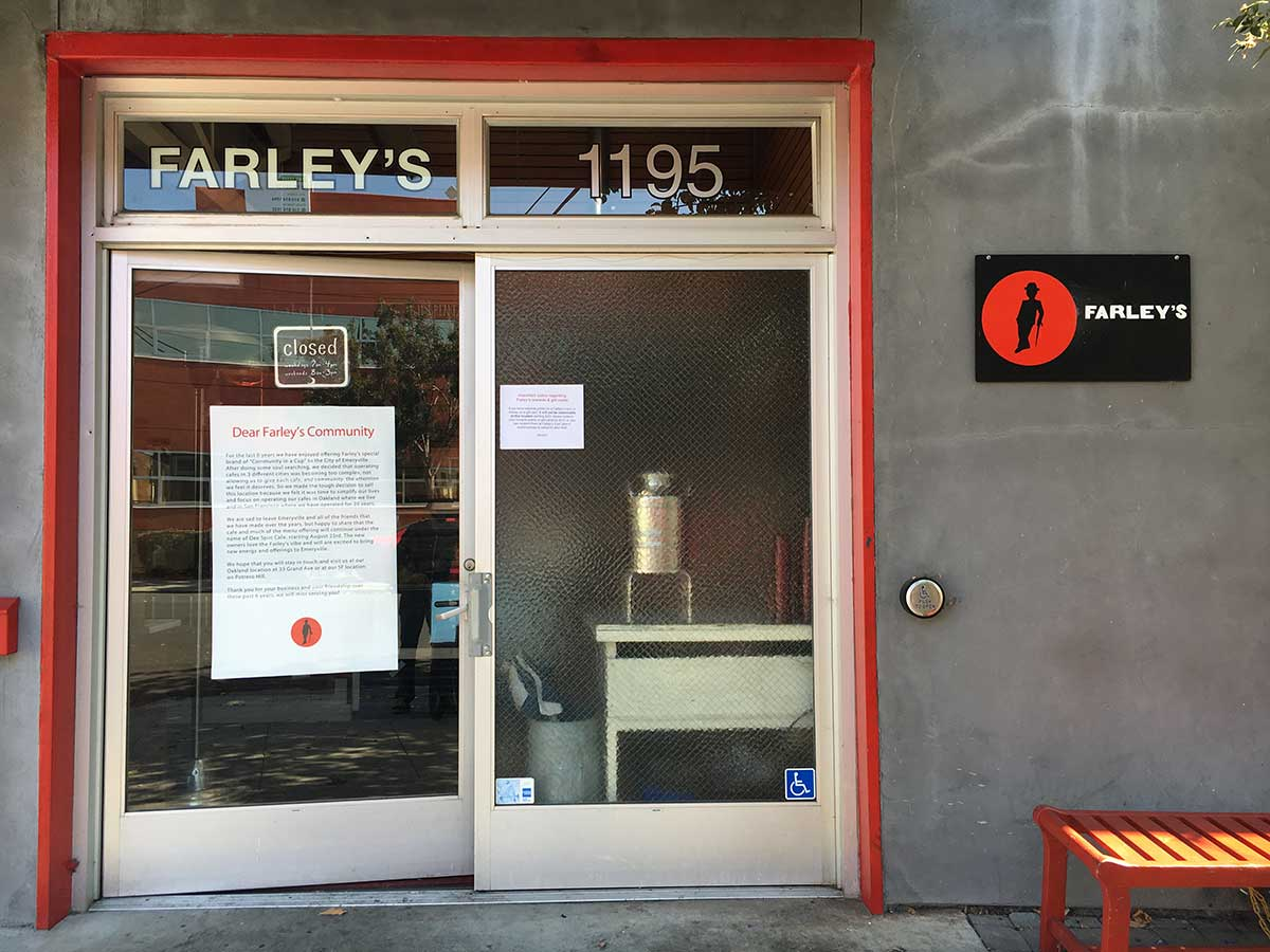E'ville Biz: Farley's Cafe among three more Post-MWO Small Business owners parting ways with Emeryville