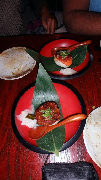 Grilled Rice Ball with Chicken Miso and Spicy Cod Roe Mayonnaise
