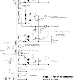 here s the first page of the schematic redrawn this part of the circuit is nearly identical to the power supply in the models 545 and 585 oscilloscope  [ 970 x 1340 Pixel ]