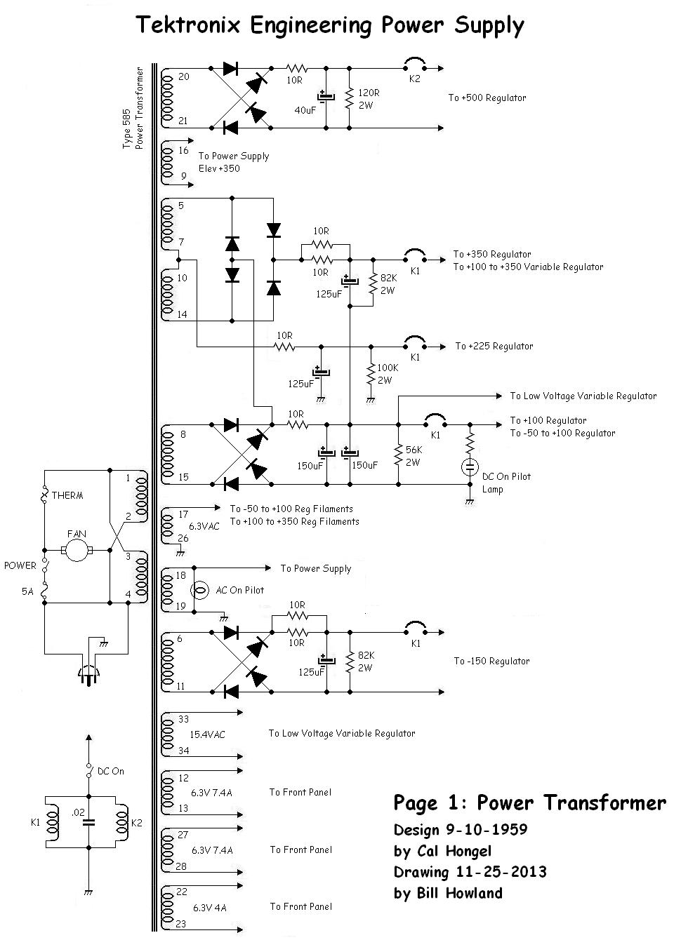 medium resolution of here s the first page of the schematic redrawn this part of the circuit is nearly identical to the power supply in the models 545 and 585 oscilloscope