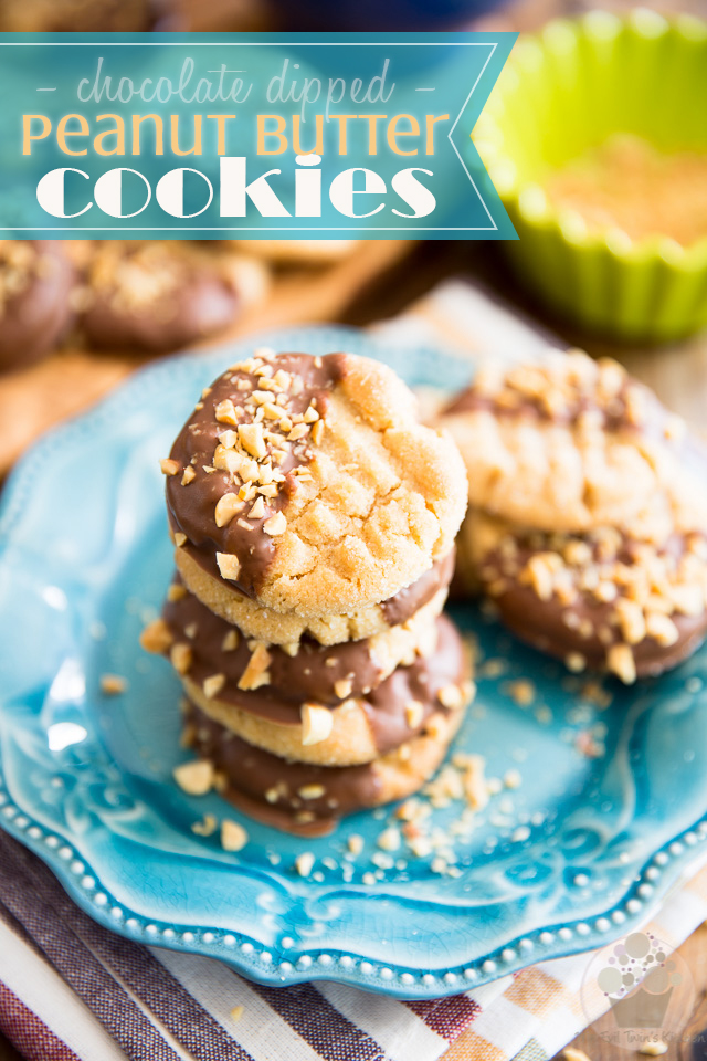 Dangerously chewy and peanut-buttery, these Chocolate Dipped Peanut Butter Cookies are what serious peanut butter lovers' dreams are made of!