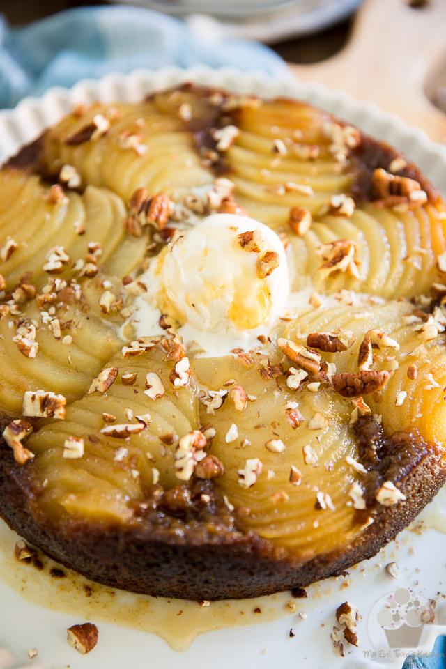 This Upside Down Spiced Pear Cake is the perfect fall cake! It's sticky and sweet, but refreshing still, with an honest touch of molasses, cinnamon and spice and everything nice!