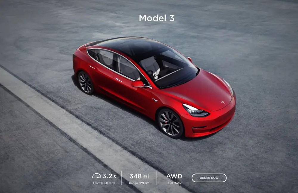 Tesla model 3 order page