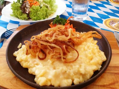 Spaetzle w/ cheese and fried onions (main vegetarian dish)