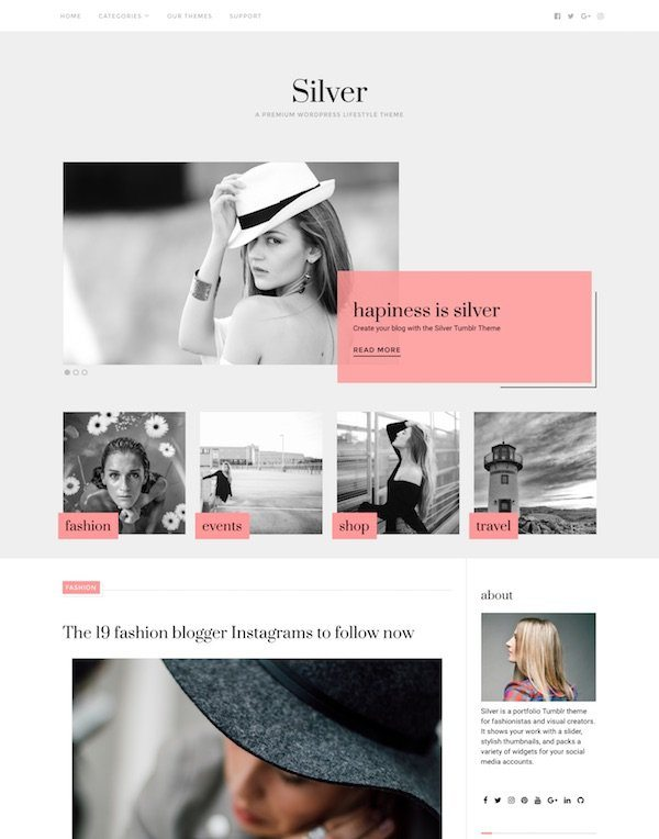 best premium blogging theme: Silver