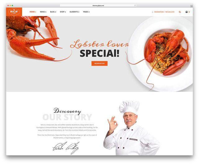 best premium wordpress restaurant themes: Rica Plus