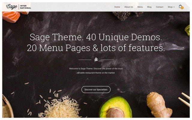 best premium wordpress restaurant themes: Sage