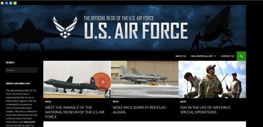 notable websites using wordpress: Air Force Live