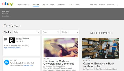 notable websites using wordpress: ebay Inc