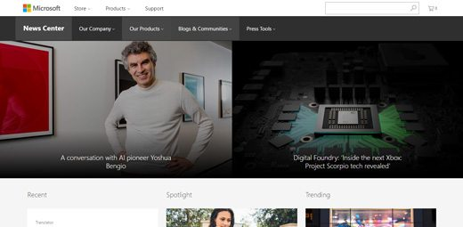 notable websites using wordpress: Microsoft News Center