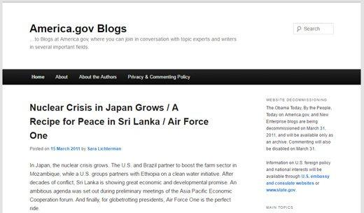 notable websites using wordpress: America.gov Blogs