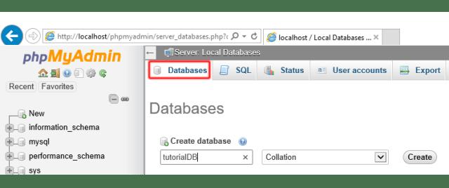 phpmyadmin database creation