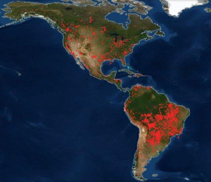пожары по всему миру, пожары на карте мира, карты пожаров по всему миру, пожары в Северной Америке, Средней Америке и Южной Америке
