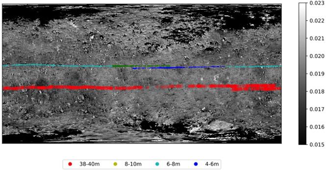Карта распределения точек наблюдения NIRS3 по поверхности Рюгу. Предоставлено: Дебора Доминг и др. / The Planetary Science Journal, 2021 г.