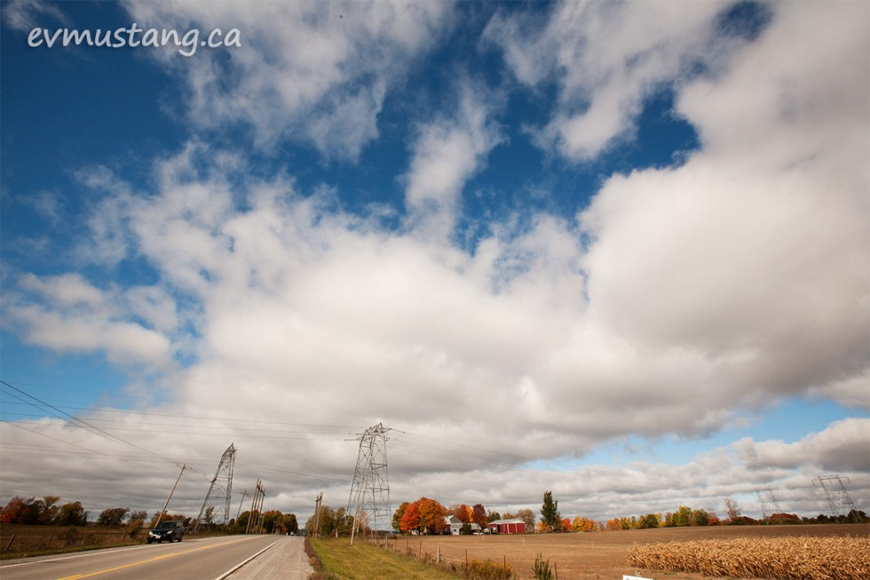 image of powerlines crossing a country road in fall