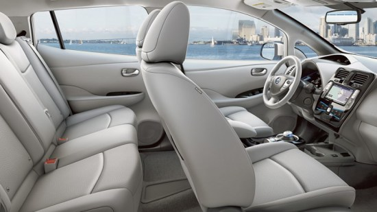 Inside the Nissan Leaf. Image Credit: Nissan
