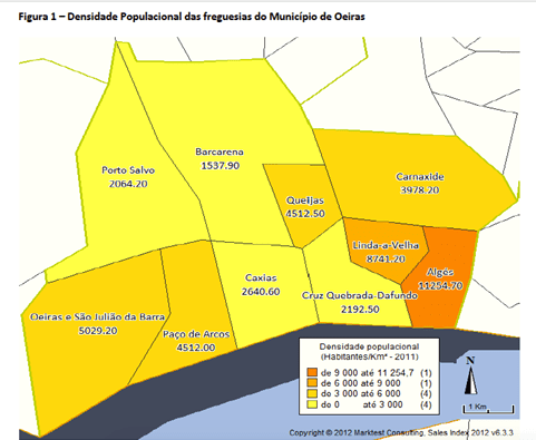 mapa das densidades populacionais das freguesias do município de Oeiras