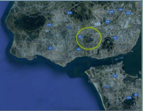 imagem de satélite da região Oeste de Lisboa, e localização da serra de Carnaxide