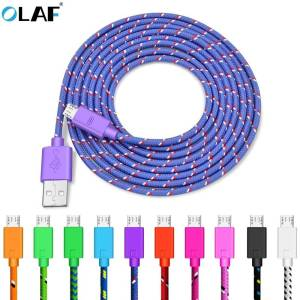 OLAF Nylon Braided Micro USB Cable Charger For Android Phones USB Phone Cables cb5feb1b7314637725a2e7: Black|Blue|Green|Orange|Pink|Purple|Red|Rosered|WHITE|YELLOW