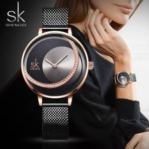 SK Fashion Luxury Brand Women Quartz Watch Wrist Watches cb5feb1b7314637725a2e7: Black M|Rose Black M|Rose White L|Silver L