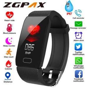 Blood Pressure Heart Rate Monitor Waterproof Smartwatch Watch For Android IOS Wrist Watches cb5feb1b7314637725a2e7: Add 3 color straps|Add blue strap|Add gray strap|Add purple strap|Add red strap|Black|Blue|gray|Purple|Red