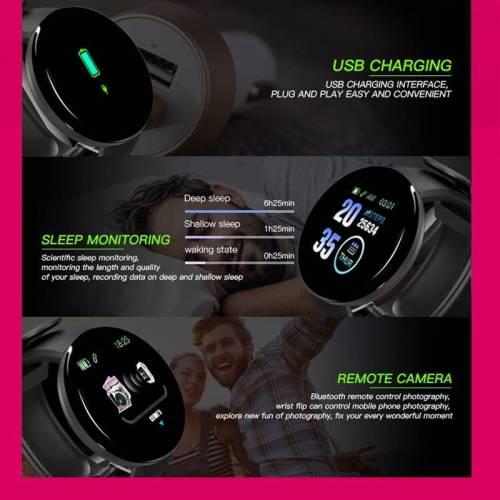 Bluetooth Smart Watch Blood Pressure Waterproof Sport Tracker Wrist Watches cb5feb1b7314637725a2e7: D13pro black|D13pro blue|D13pro green|D13pro pink|D13pro red|D18 add 4 straps|D18 add blue strap|D18 add green strap|D18 add pink strap|D18 add red strap|D18 Black|D18 Blue|D18 green|D18 pink|D18 red
