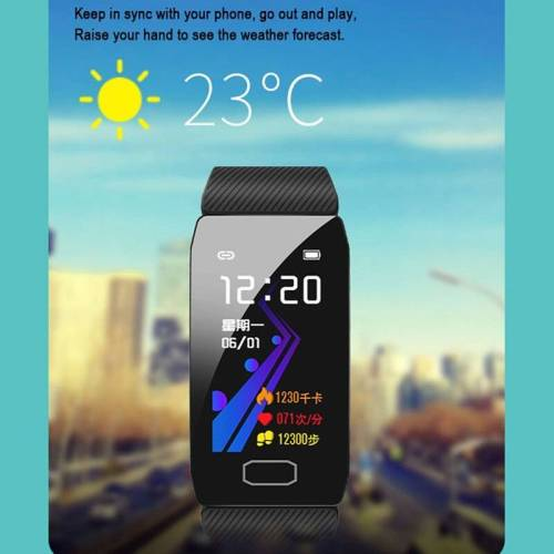 Fitness Tracker Smart Watch Blood Pressure Waterproof Weather Display Wrist Watches cb5feb1b7314637725a2e7: Add 4 color straps Add a blue strap Add a gray strap Add a purple strap Add a red strap Black Blue gray Purple Red