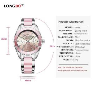 LONGBO Fashion Luxury Ceramic Alloy Wristwatch Wrist Watches cb5feb1b7314637725a2e7: Pink|WHITE