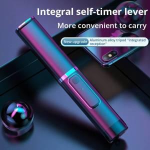 Portable Integrated Selfie Stick – Hidden Phone Bracket Bluetooth Button For Smartphones Mobile Phone Accessories Selfie Sticks & Tripods cb5feb1b7314637725a2e7: Black